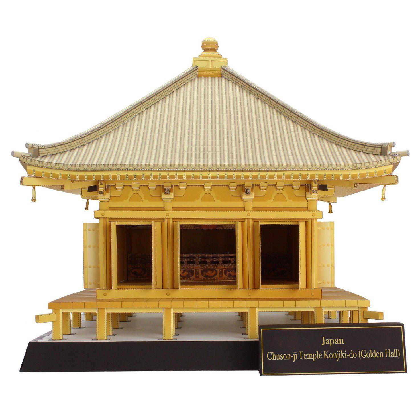 japan chuson ji temple konjiki do golden hall paper model kit