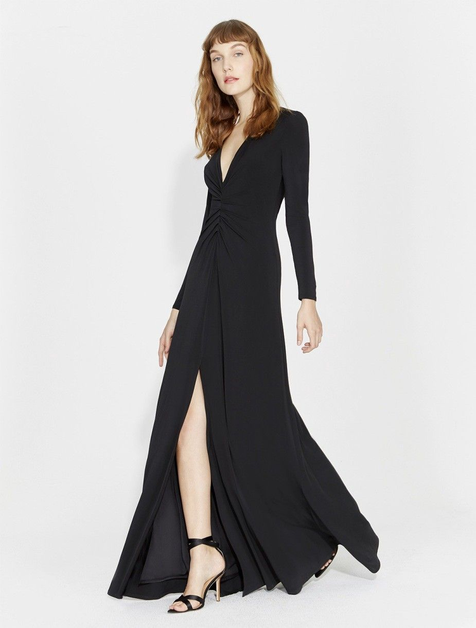 Halston heritage ruched front jersey gown black xs products