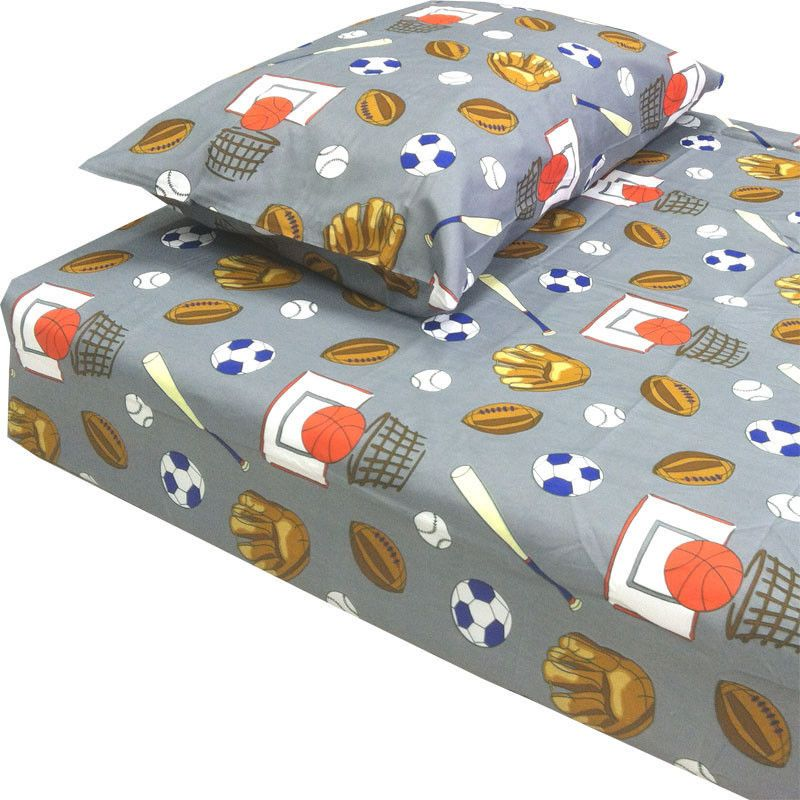 Grey American Sports Twin Bed Sheet Set Boys Teen Teens Kids - Boys sports bedding sets twin