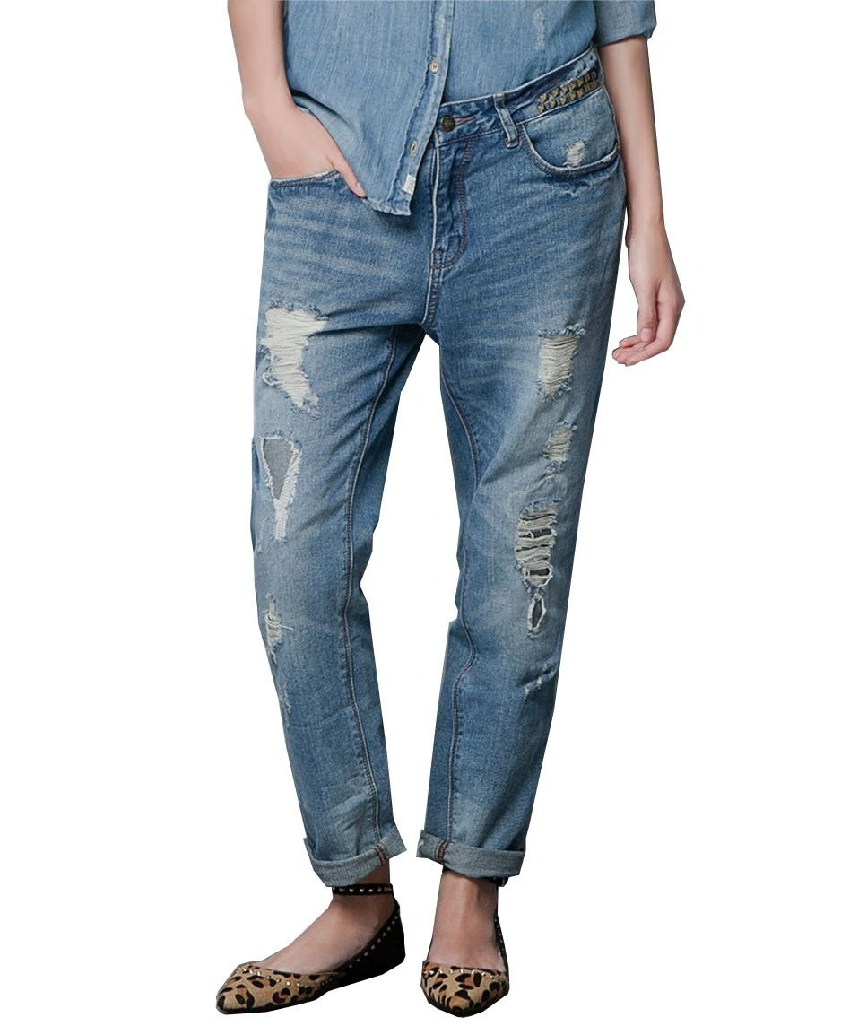 Bf style washed and ripped loose fit jeans jeans