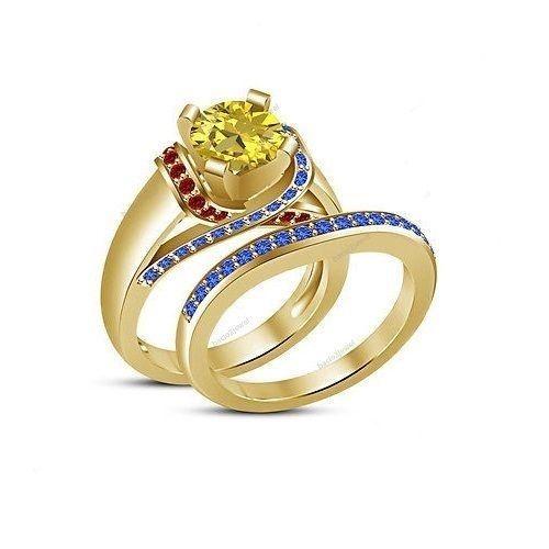 9k Yellow Gold Finish Multi Color Gemstone Disney Belle Princess Bridal Ring Set