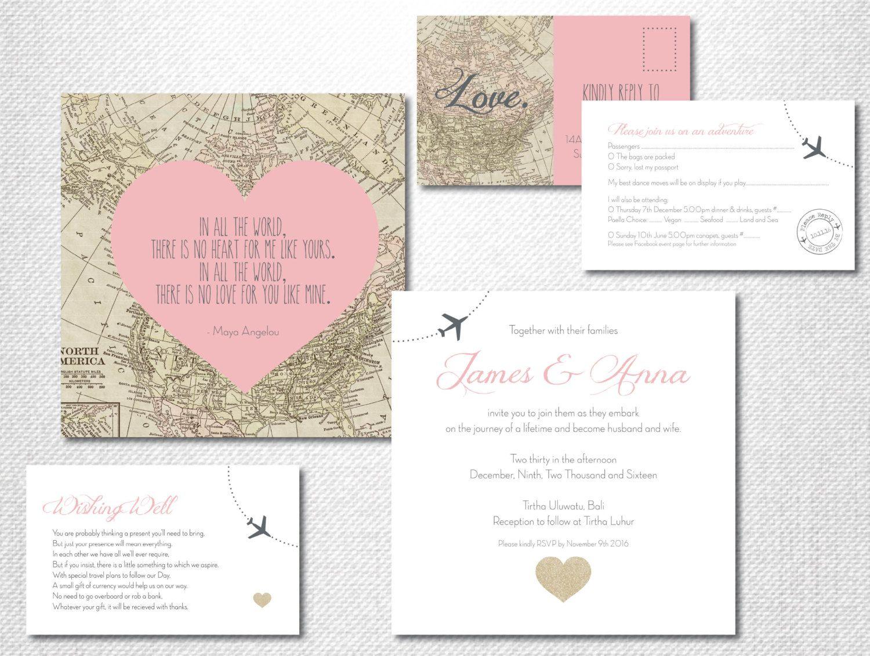 Map Wedding Invitation ~ Destination Wedding Invitation ...