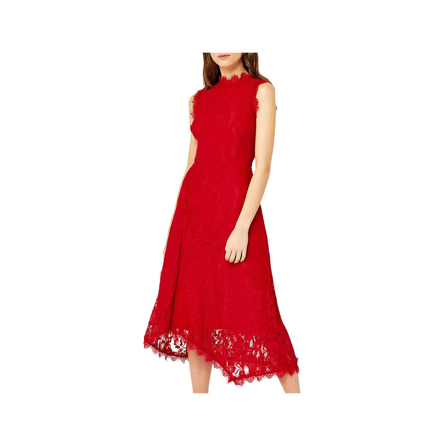 Warehouse tiered lace dress yellow  Warehouse Sleeveless Lace Midi Dress Bright Red  Lace midi dress