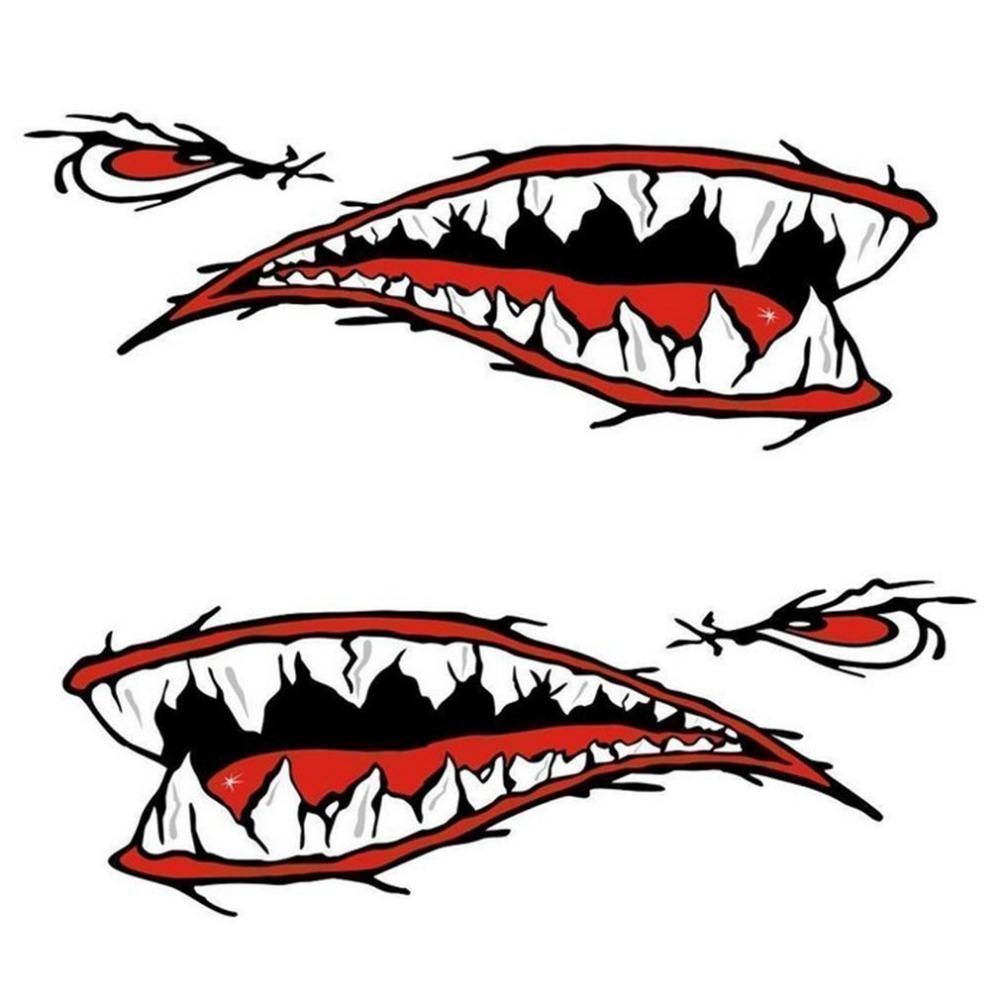 2Pcs Fish Teeth Mouth Stickers Skeleton Kayak Accessories Fishing Canoe Graphics
