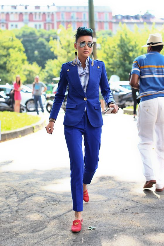 ALL THE PRETTY BIRDS: Milan Men's Fashion Week SS14 Street Style DAY 1 - In Shades of Blue (and Mirrored Sunglasses)