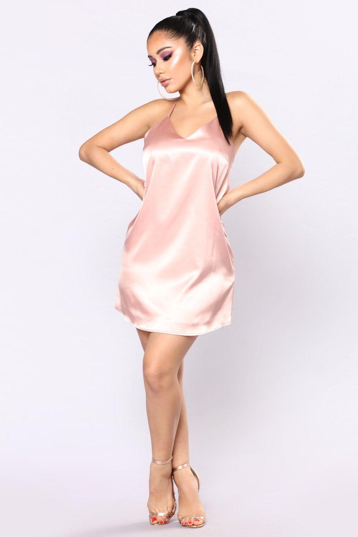b4f75db3f0 Daysha Satin Dress - Dusty Pink