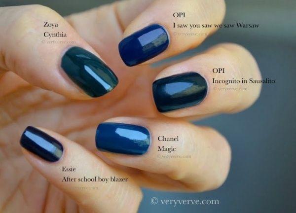 Dark blue nail polish, fall winter 2013 2014 trend. Swatches ...