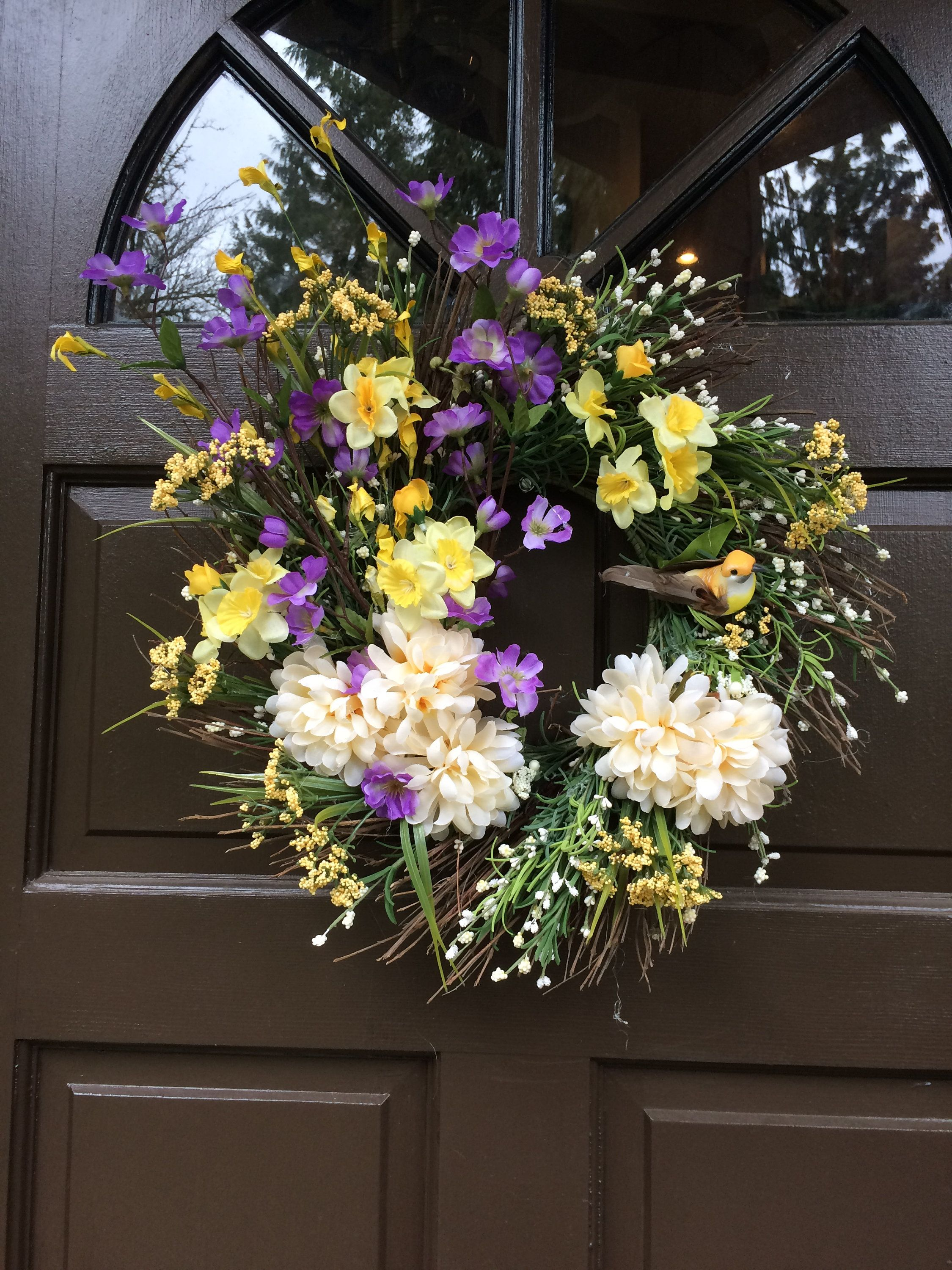 in base diameter grapevine spiral wreath yellow and purple