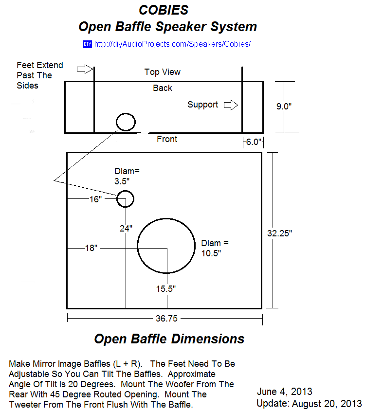 Open Baffle Speaker Plans and Dimensions | speakers in 2019