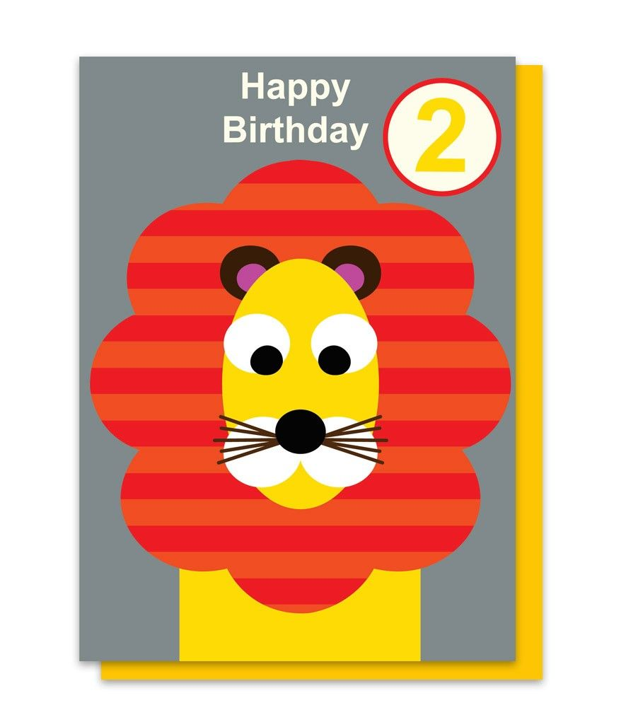 Louis the Lion Age 2 Card - Boys' Age Birthday Cards - Cards & Gifts | Olive and Moss