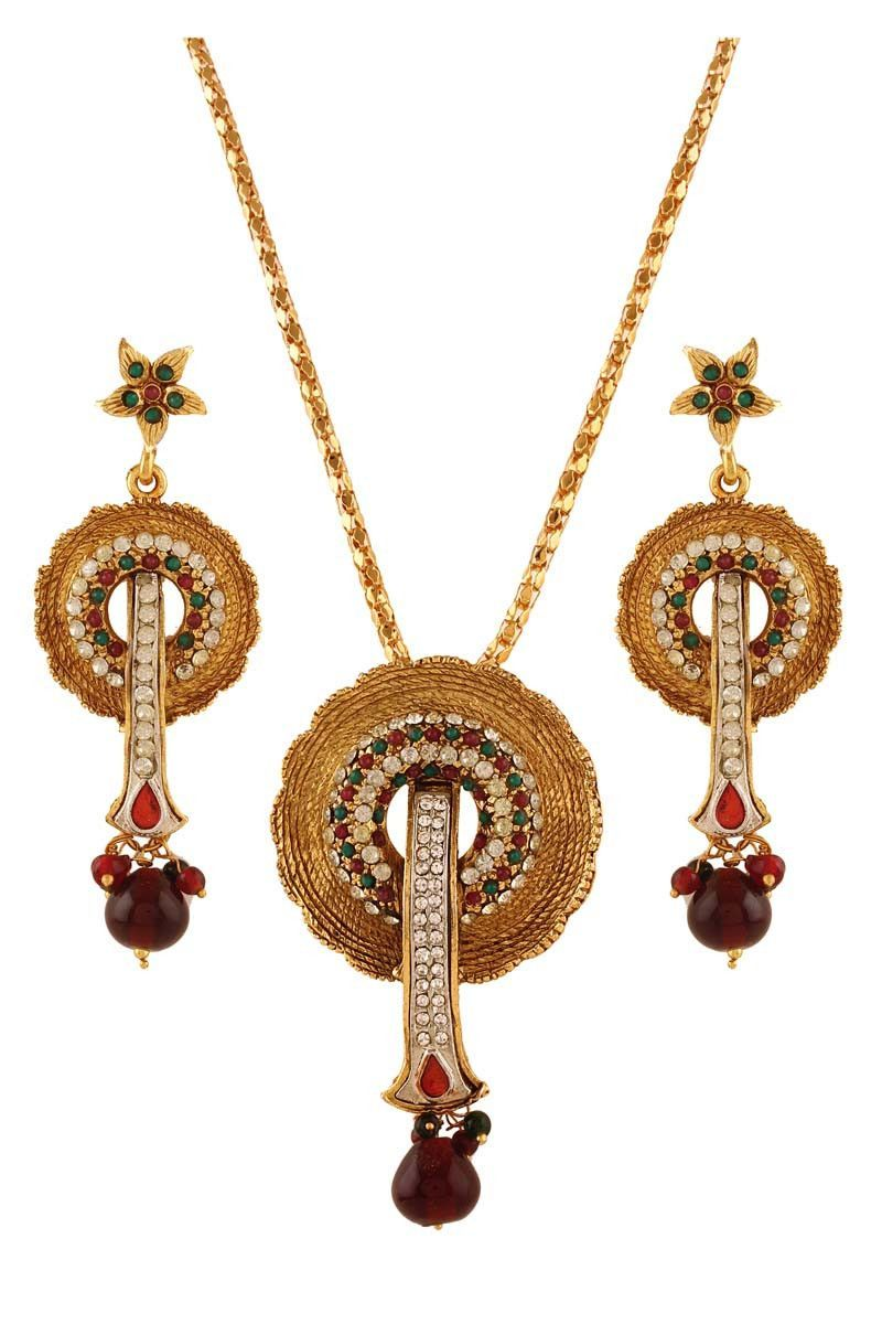 Multi gold plated austrian diamond pendant set pendant set