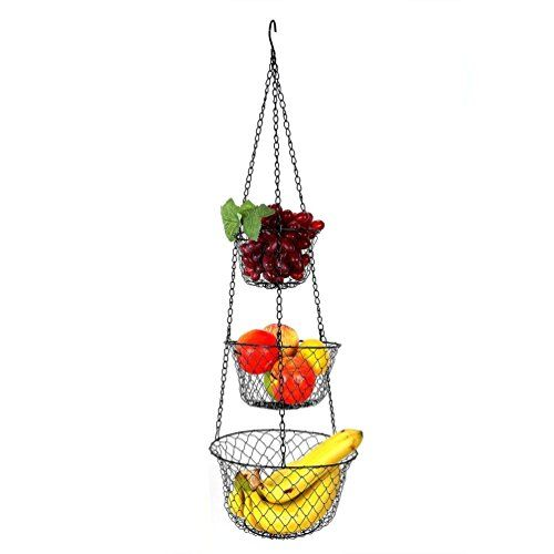 Homebridge 3 Tier Height Adjustable Hanging Storage Basket Maximum Weight Load 10 Pounds.