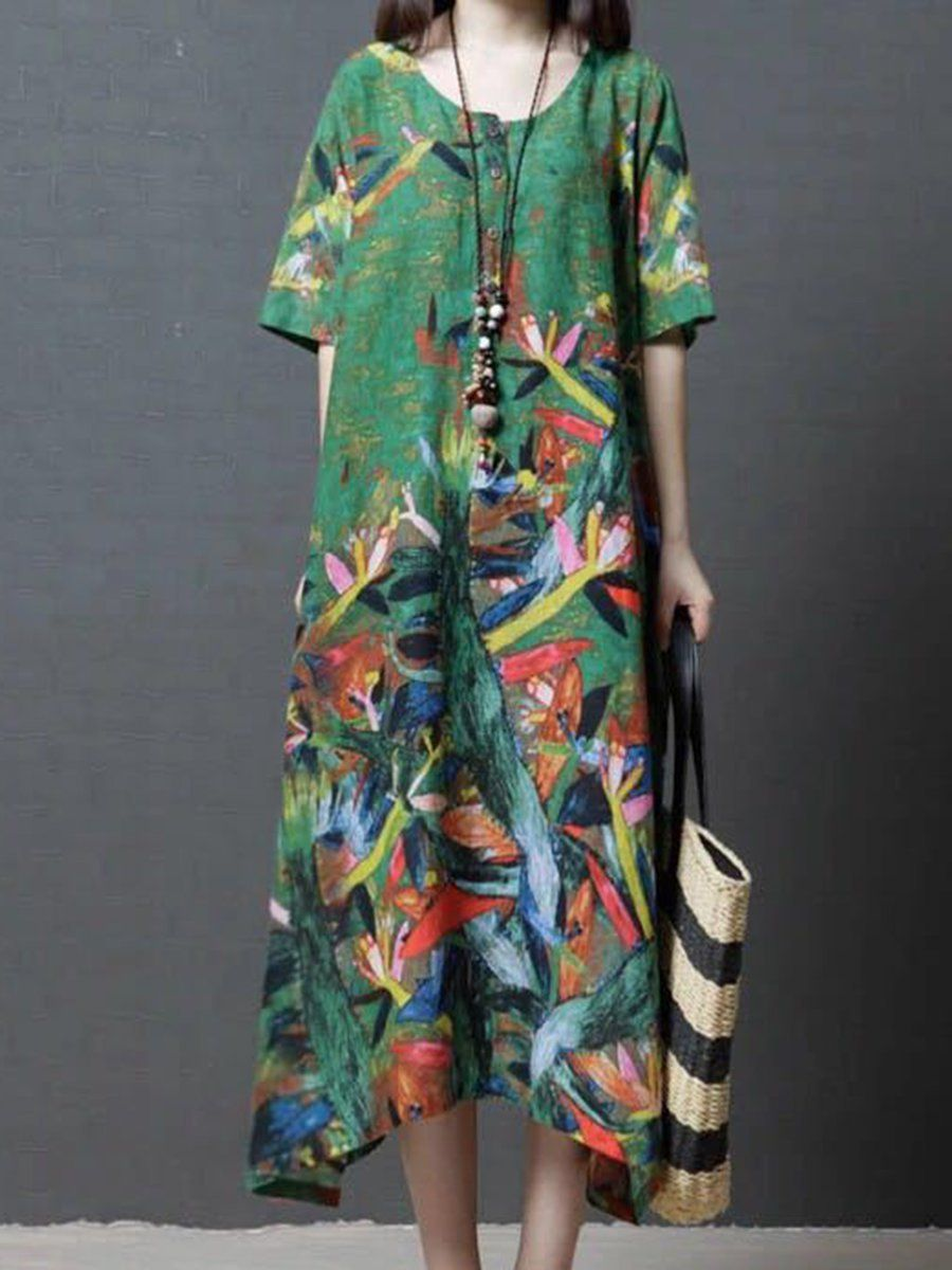 239941d05cd4 Popjulia Crew Neck Women Dress Asymmetrical Daytime Dress Cotton Printed  Abstract Dress