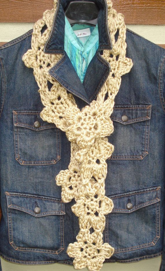 Boho Flower Scarf Crochet Pattern (love this! pattern is $3 ...