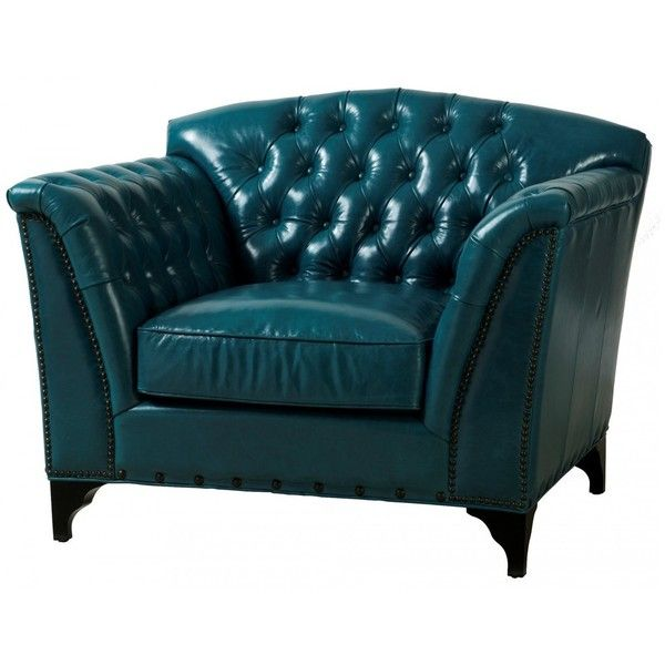 Pea Tufted Turquoise Leather Club Chair 415 Liked On Polyvore Featuring Home Furniture Chairs Accent