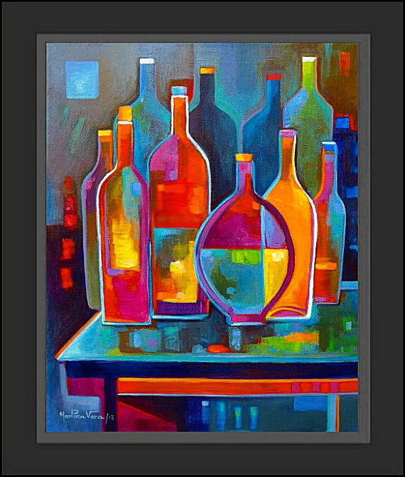 Original abstract painting cubist wine acrylic on canvas for Peinture mural original