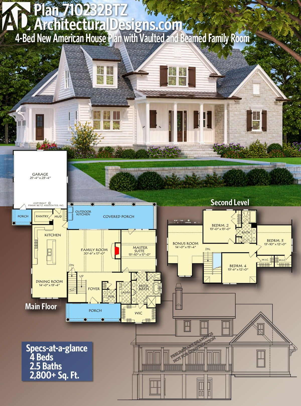 Plan 710232btz 4 Bed New American House Plan With Beamed Family Room And Master Suite In 2021 American Houses New House Plans House Plans