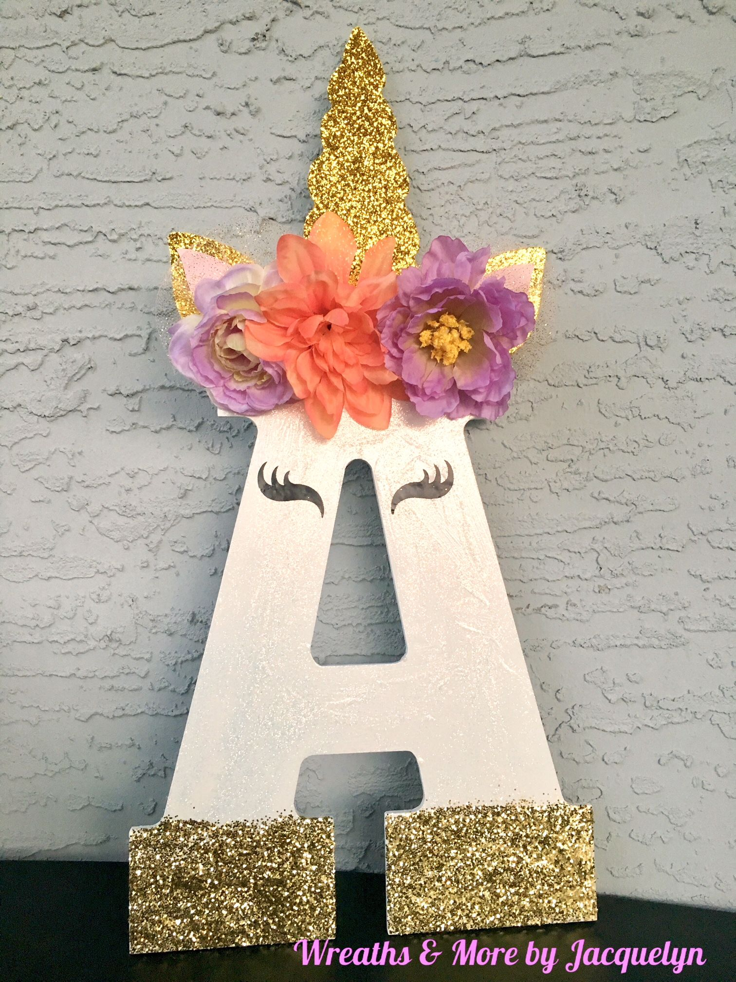 Unicorn Themed Wood Initial Letter, Letter A, Bedroom Decor, Wall Decor, Birthday Party Decor, Gold Pink Lavender Purple Coral, Gold Glitter, Unicorn Decorations, Wall Hanger, Dresser, Kids, Child, Children, Infant, Toddler, Baby, Popular, Unique, Wreaths & More by Jacquelyn