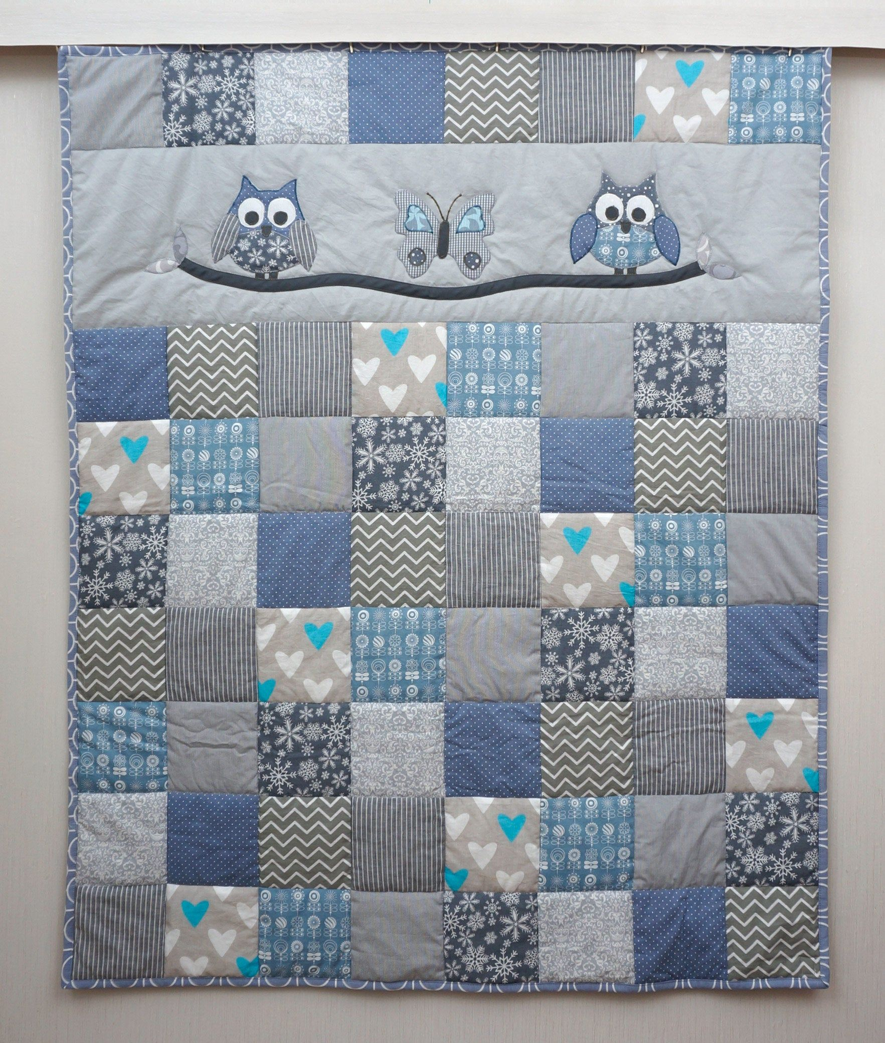 Crib Quilt Owl Quilt Baby Boy Quilt Blue And Gery Patchwork Blanket Handmade Gift For Boy Baby Shower Gift Baby Boy Quilts Baby Boy Quilt Patterns Owl Baby Quilts