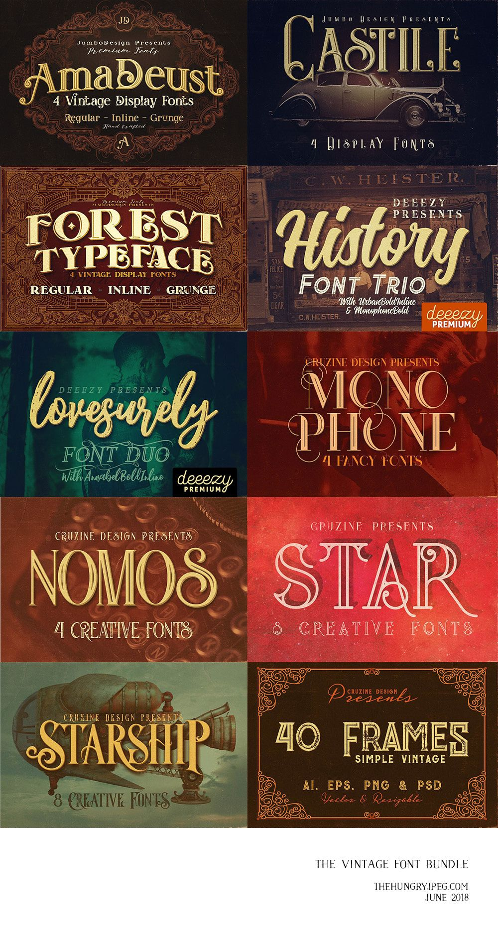 Download The Vintage Font Bundle by TheHungryJPEG | TheHungryJPEG ...