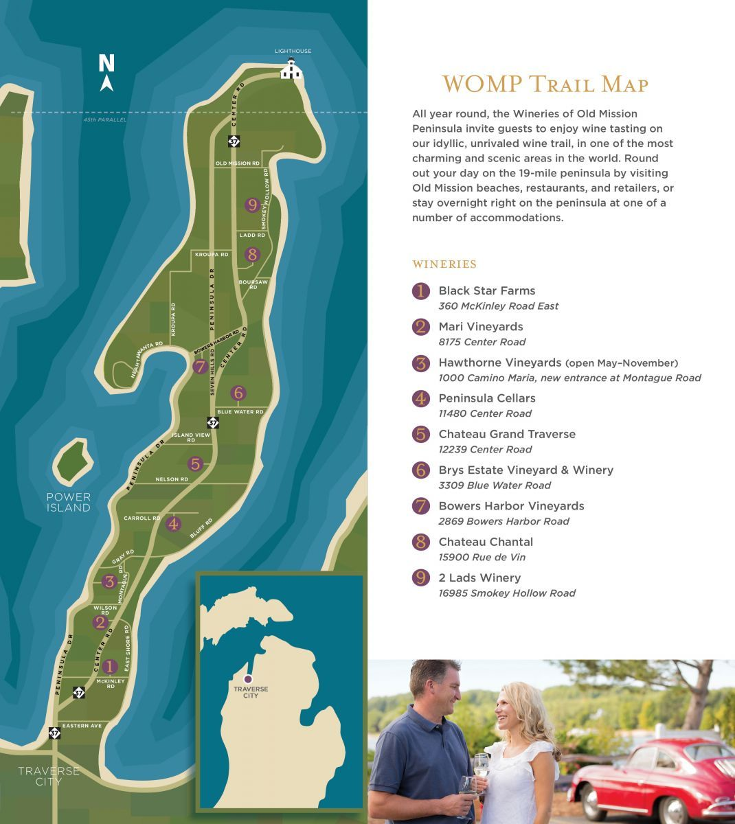 Wine Trail Map Wineries Of Old Mission Peninsula Traverse City Wineries Wine Tasting Wine Trail