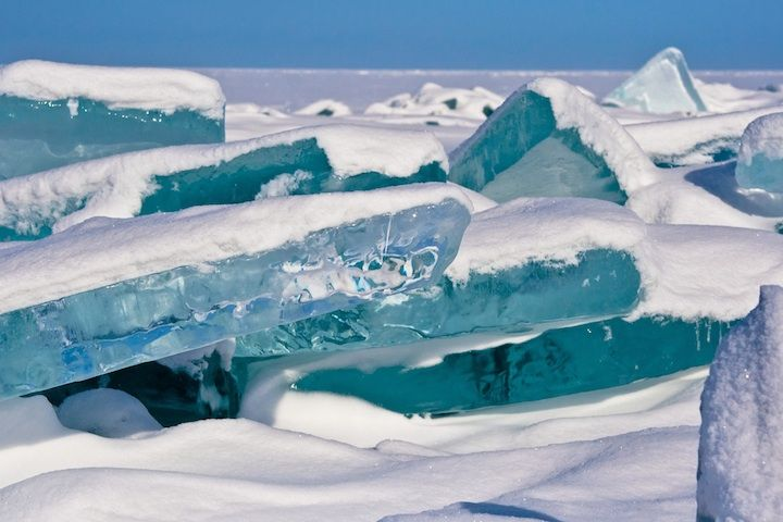 Shards of Turquoise Ice Jut Out of the World's Largest Lake - My Modern Metropolis