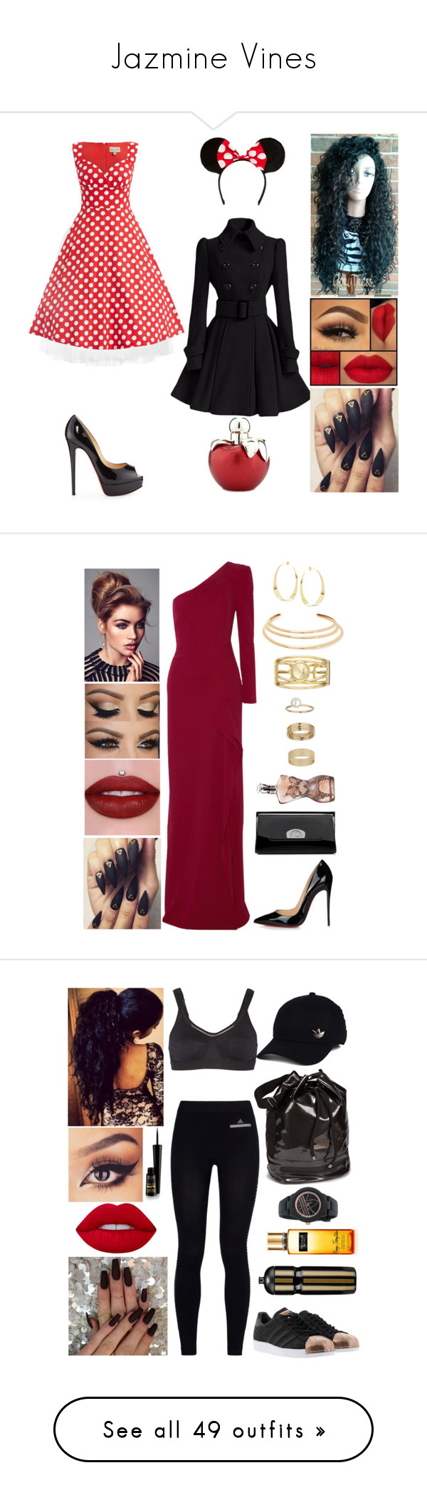 """""""Jazmine Vines"""" by the-wanted-potato ❤ liked on Polyvore featuring Ballet Beautiful, Christian Louboutin, Nina Ricci, Roland Mouret, Nine West, Lana, Kenneth Jay Lane, Miss Selfridge, Jean-Paul Gaultier and adidas"""