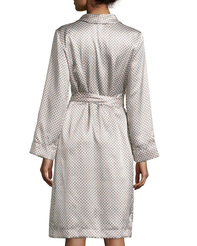 Esprit Cravate Medallion-Print Short Robe, Gris Dandy