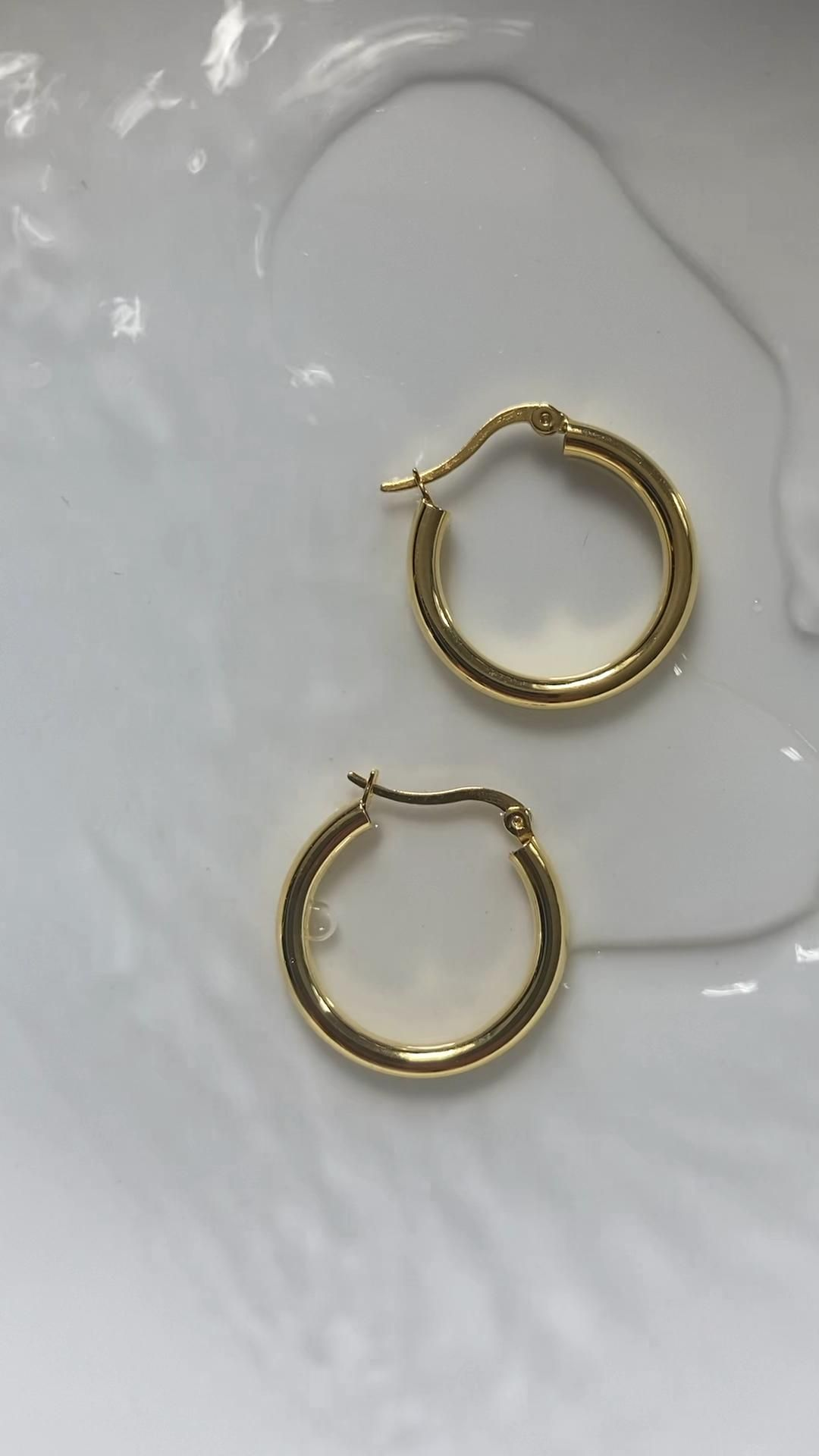 About November | Rae 22mm Sterling Silver Gold Hoop Earrings