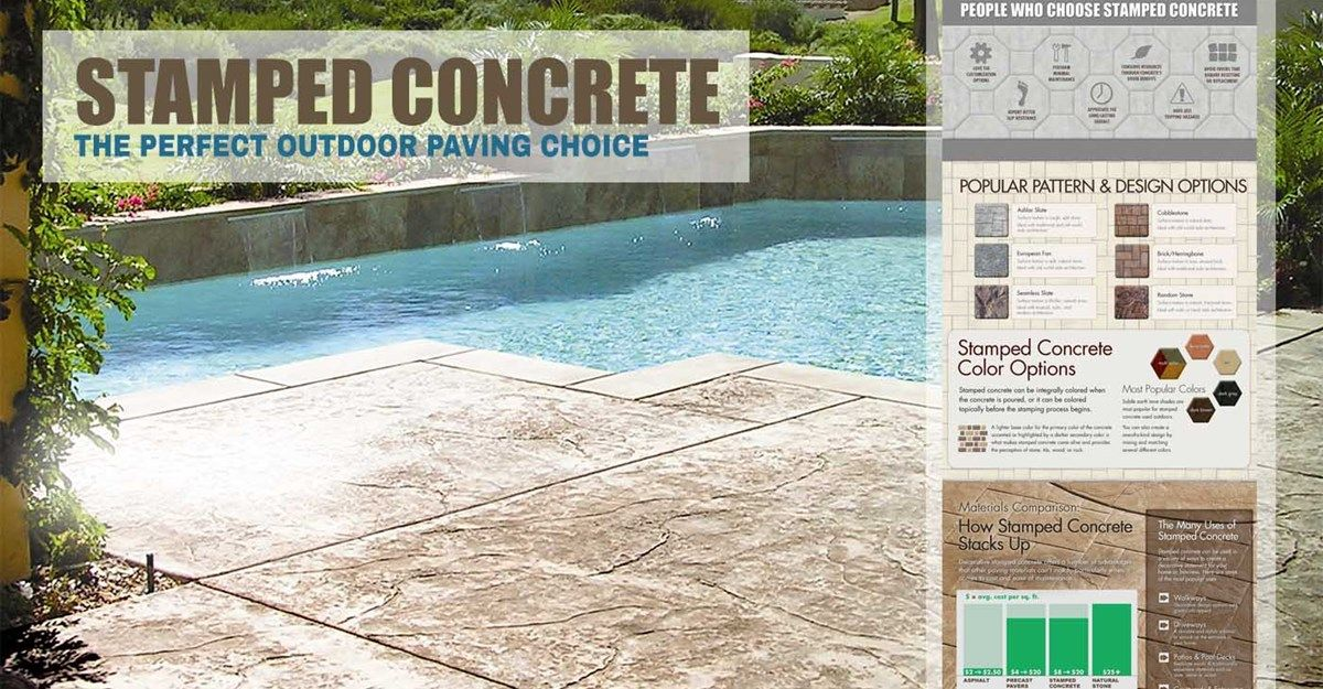 stamped concrete is the perfect outdoor paving choice replicate all kinds of nautral textures with - Stamped Concrete Design Ideas