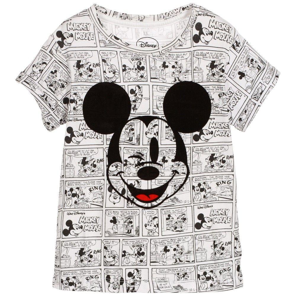 2c58f29be2a62a Little Eleven Paris - White 'Mickey Mouse' Cotton T-Shirt | Childrensalon ·  Disney .