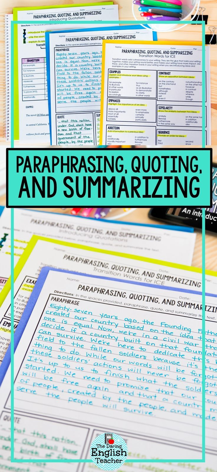Paraphrase Quote Summarize Teach Your Student How To And Text With Th Teaching Summarizing Writing Lesson Instruction Identify The Difference Between Paraphrasing Quoting