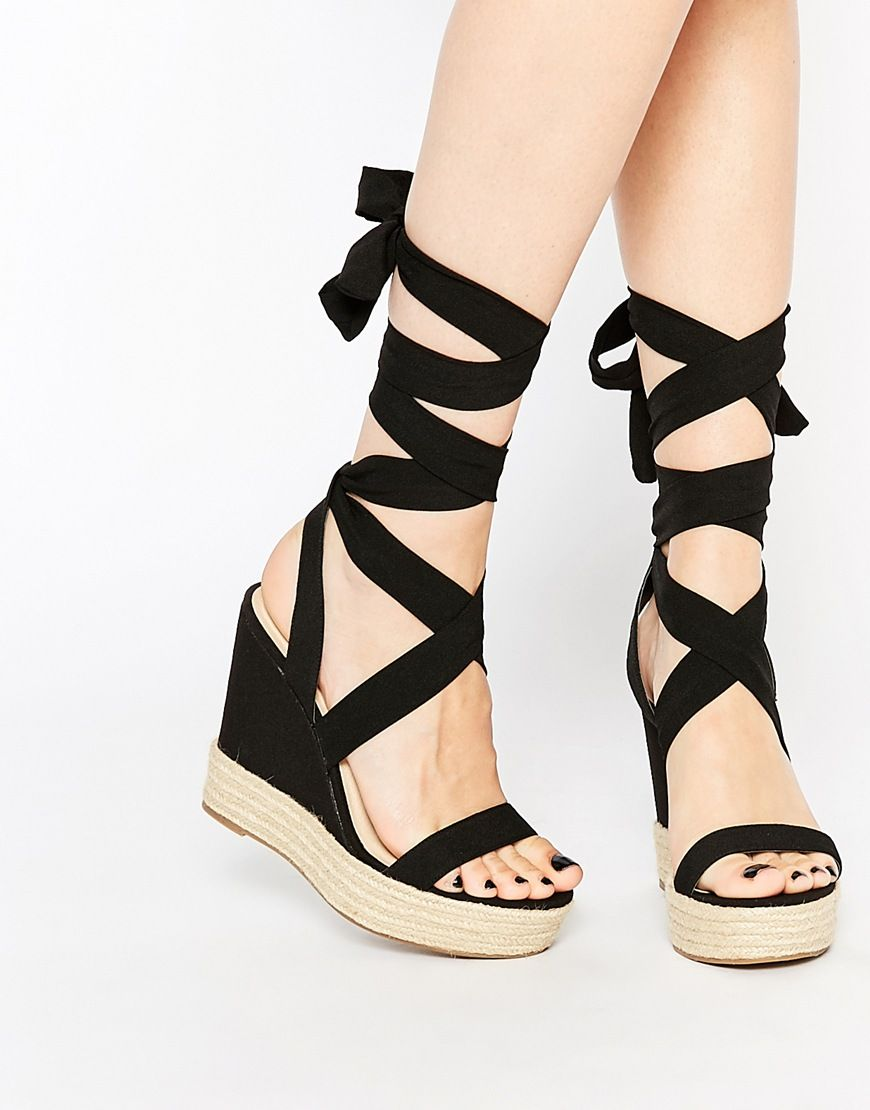 Asos Tornado Lace Up Wedges Lace Up Wedges Black Wedge