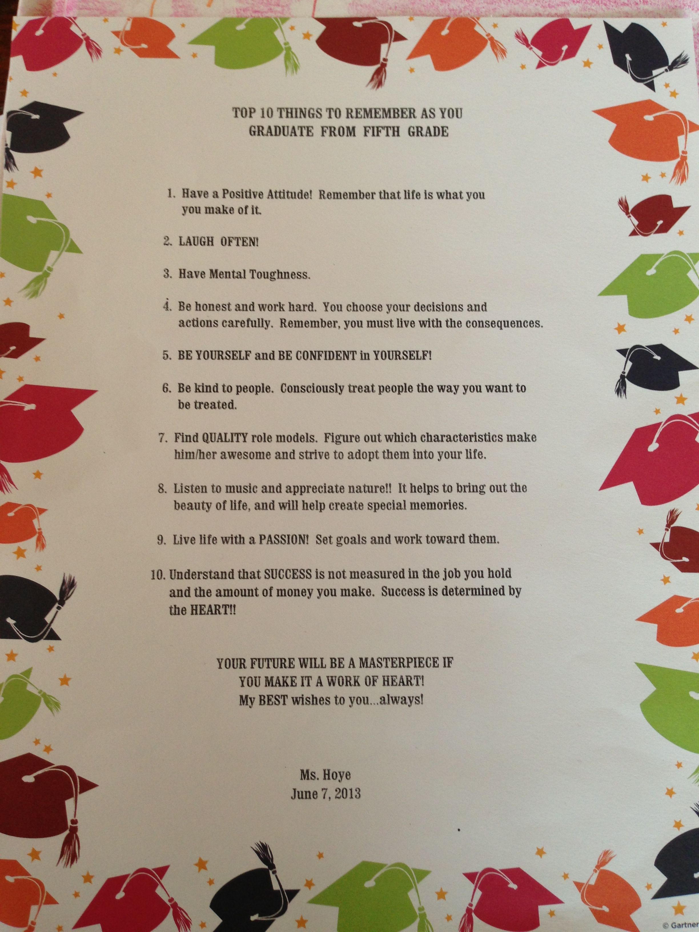 Words of wisdom at 5th grade graduation from clay39s wonderful teacher stuff for the kids for 5th grade graduation ideas