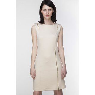 beige gerade Kleid in gepresstem Design von Schieber