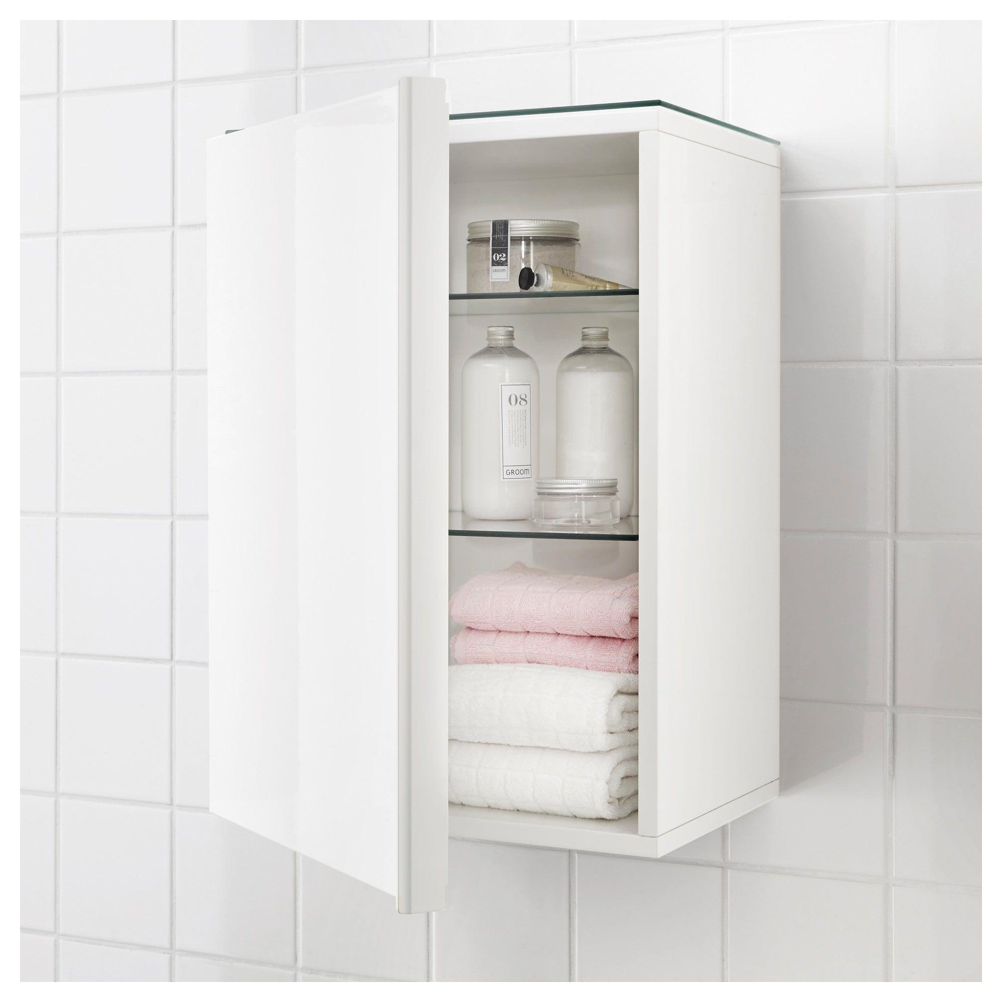 Godmorgon Wall Cabinet With 1 Door Highgloss White 40x32x58 Cm Ikea Wall Mounted Bathroom Cabinets Bathroom Wall Cabinets White Bathroom Cabinets