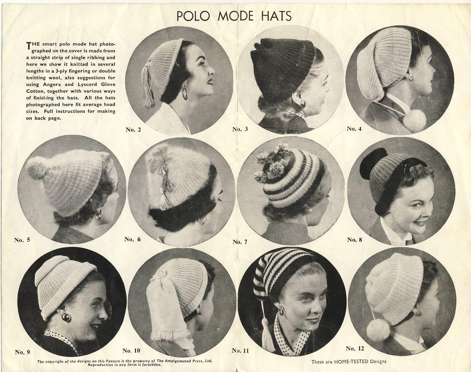 Crochet Leaflet For Little Hats Vintage