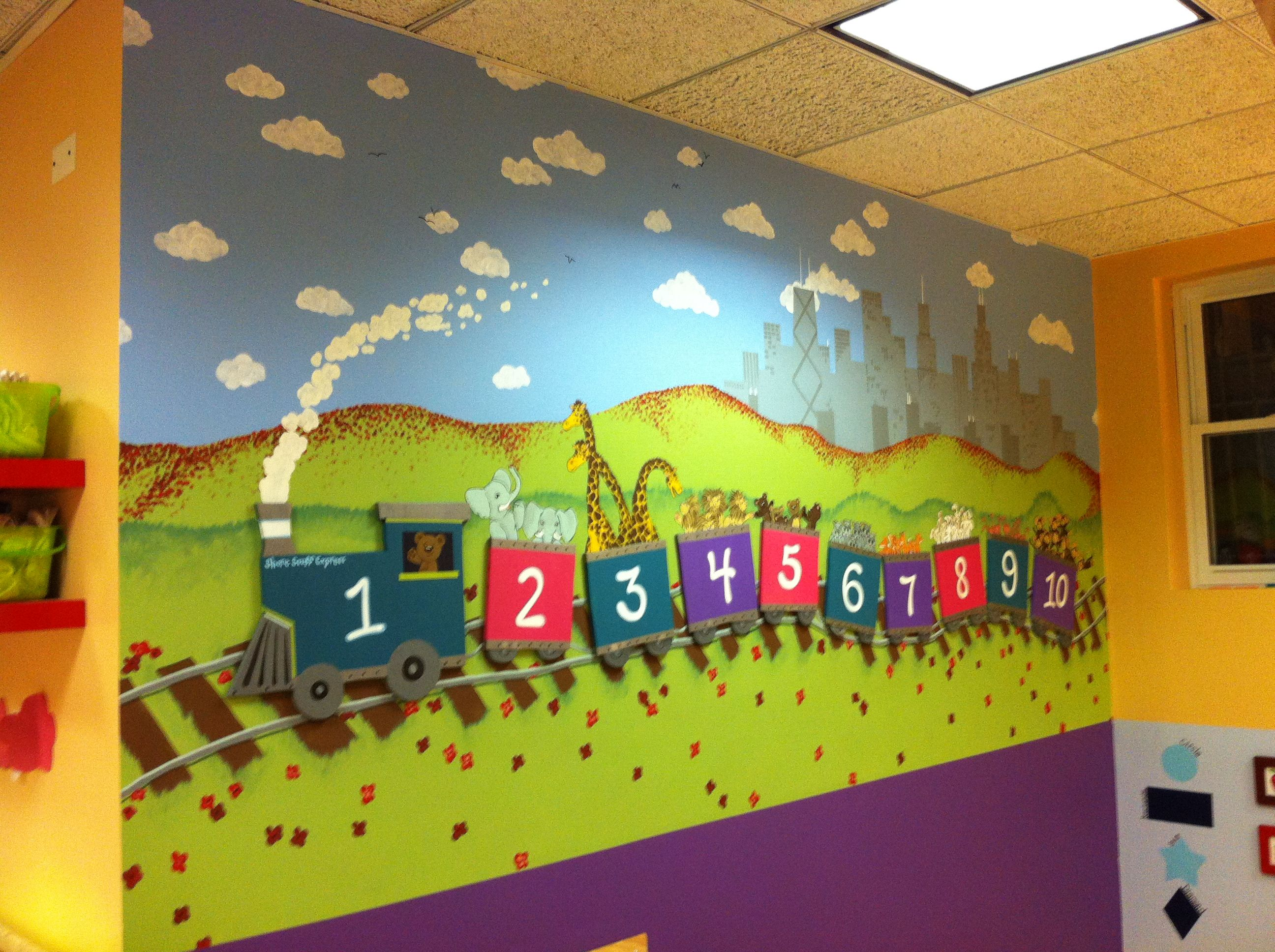 This is the numbers mural at an early education for Classroom mural ideas