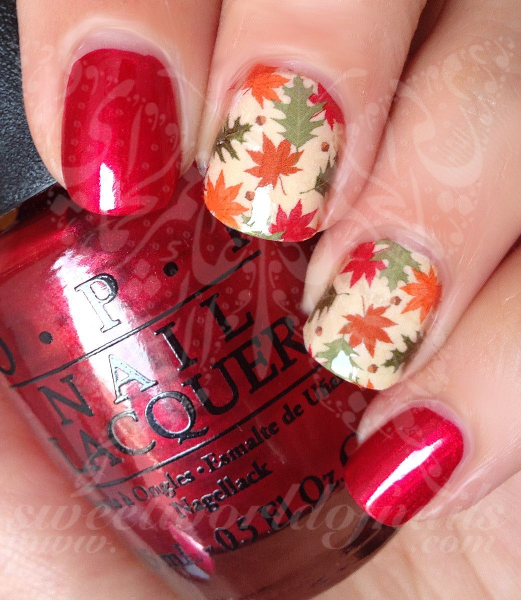 Autumn Nail Art Fall Leaves Nail Full Water Wraps Water Slides ...