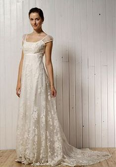 Square A Line Empire Lace Floor Length With Short Sleeve Sweep Brush Train Bridal Gown At Angelweddingdress