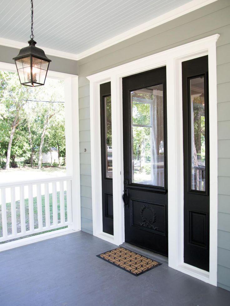 Black Front Door With White Trim Photos Hgtvs Fixer Upper With