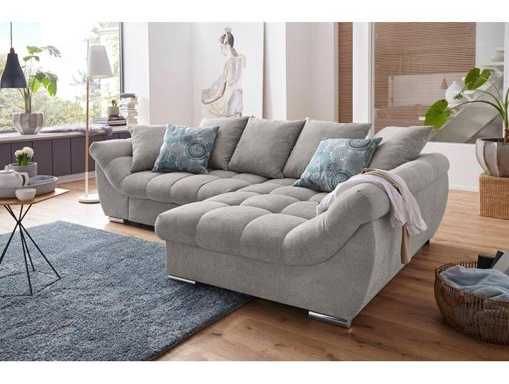 Nova Via Ecksofa Silber Luxus Microfaser Weich Couch Mit