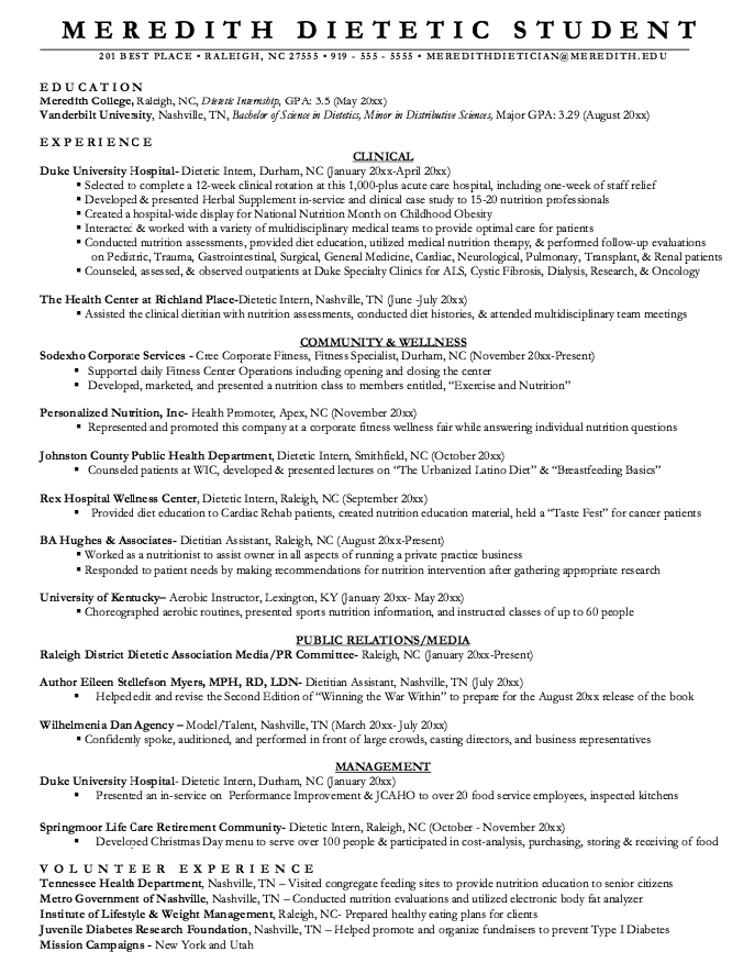Clinical Dietitian Resume Example Di 2020