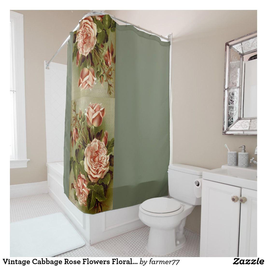 Vintage Cabbage Rose Flowers Floral Garden Shower Curtain | Bath ...