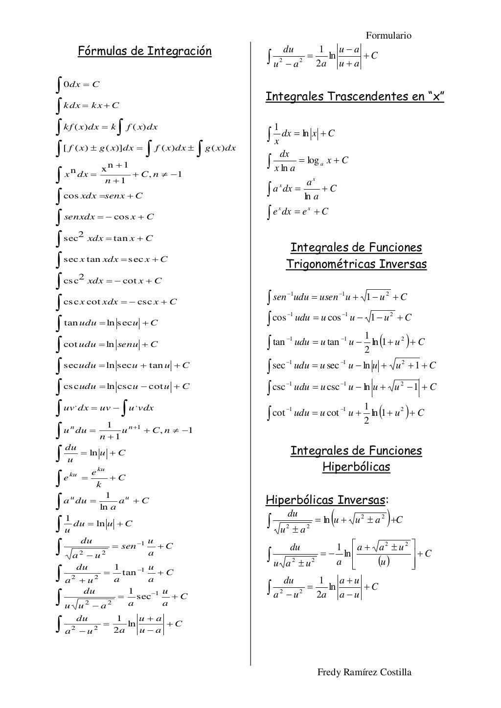 Formulario Fredy Ramirez Costilla Formulas De Integracion