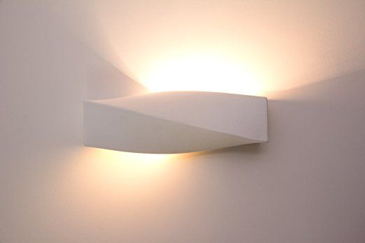 Lampada da parete in gesso e ceramica anche suzu bianco verniciabile