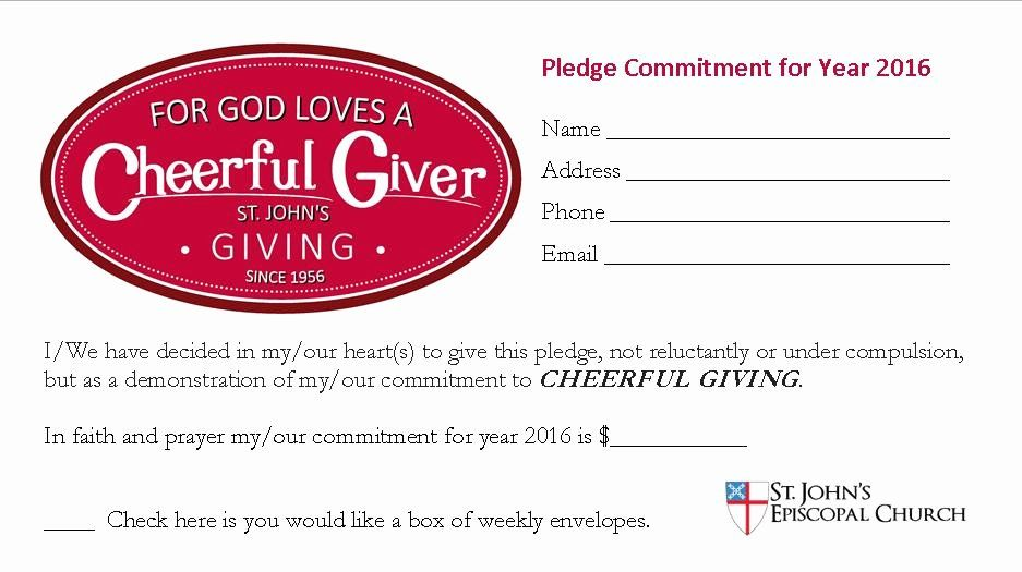 Church Pledge Card Template Unique Annual Giving St John S Episcopal Church Card Template Pledge Church Fundraisers
