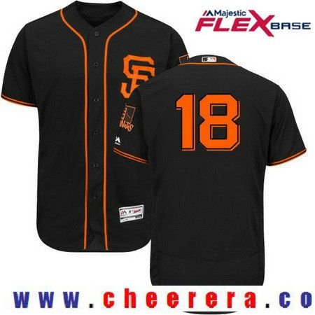 Men's San Francisco Giants #18 Matt Cain Black 2017 Spring Training Stitched MLB Majestic Flex Base Jersey