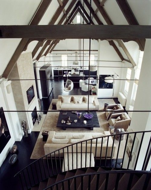 Love how high these ceilings are. And I love how big the space is. Plus they have my bubble chair!!