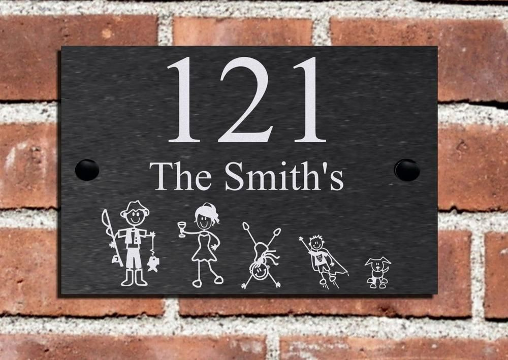 New Stick Family Slate  House Door Number Sign Plaque 3 Sizes Available